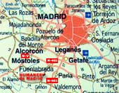 Mapa geográfico de situación al Sur de Madrid. Pinche si desea ver Humanes de Madrid via satelite