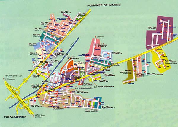 Mapa de los poligonos industriales de Humanes de Madrid de la Ctra de Fuenlabrada y la de Moraleja. Bienvenidos a la 1ª página NO OFICIAL de Humanes de Madrid, Humanesdemadrid.com, Humanes Madrid