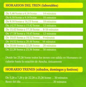 Horarios de Cercanias Renfe C5 en Humanes de Madrid desde Humanesdemadrid.com